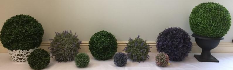 dekoratyvinė, dirbtinė gėlė burbulas SAMŠIT ivairiu spalvu ir didžiu, žalios spalvos, lavanda 10; 20; 25; 30; 45 cm