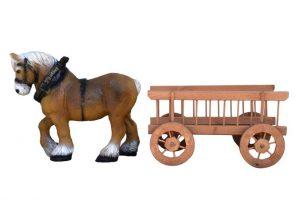 arklys su vežimu, lauko dekoracijos, figuros, lauko sodo statuleles, statulos, dekoratyvinės skulpturos, gyvunu figurėlės, kiemo dekoravimas
