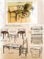 baldai, stalas, kušetės, kedės, interjeras, interjero detalės, metalines zvakides, įrankiai prie židinio, pakabos, stovai gelems, geliu stovas, metaliniai baldai, dirbiniai iš metalo ,