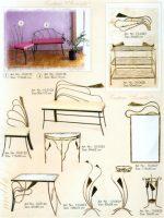 kedės, stalas, kušetės, interjeras, interjero detalės, metalines zvakides, įrankiai prie židinio, pakabos, stovai gelems, geliu stovas, baldai iš metalo, metaliniai baldai, dirbiniai iš metalo