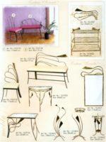 Kedės, stalas, kušetės, interjero detalės, metalines zvakides, įrankiai prie židinio, pakabos, stovai gelems, geliu stovas, baldai iš metalo, metaliniai baldai, dirbiniai iš metalo