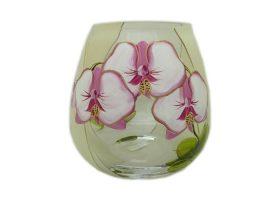 vaza stiklinė, vazos gėlėms, vaza su piešiniu